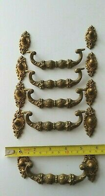 Lot (5) Antique Heavy Cast Brass Drop Drawer Pulls - Handles - Great Patina