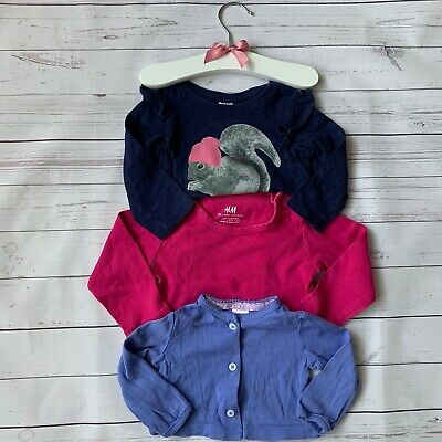 Baby Girls 6-9 Months - Long Sleeved Top Bundle H&M Carters Pink Purple T-shirts