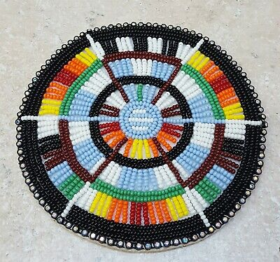 """Nice 4.5"""" Hand Crafted Geometric Design Native American Indian Beaded Rosette"""