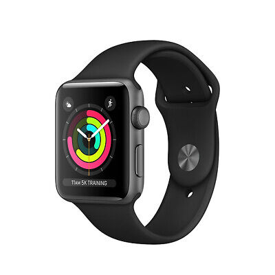 Apple Watch Series 3 GPS 38 mm Space Gray Aluminum Case with Black Sport Band...