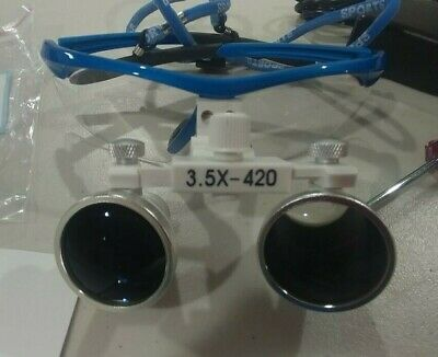 Dental Loupe Magnifier Binocular With LED Light. 3.5X 420MM, NEW