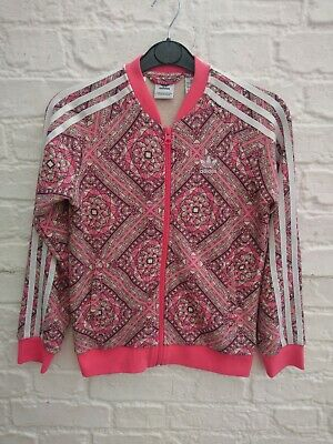 Girl's Adidas Tracksuit Jacket Size Age 9 10 Years Pink Abstract Print Track Top
