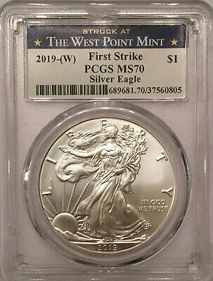 2019-(W) American Silver Eagle PCGS MS 70 West Point FIRST STRIKE LABEL