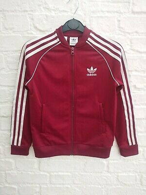 Kid's Adidas Tracksuit Jacket Size 9 10 Years Burgundy Red Girl's Boy's Unisex