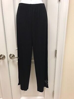 Chico's Travelers Size 1 Med 8-10 Stretchy Black Acetate Traveler Dress Pants