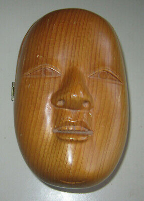 "Antique Japanese figural ""woman face"" kiri wood box - interesting and unusual"