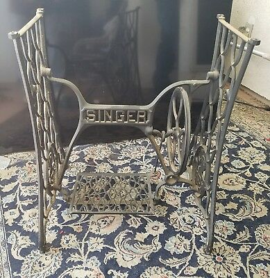 Antique Working Singer Treadle Sewing Machine Cast Iron Base Stand Shabby Chic