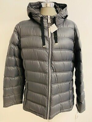 Calvin Klein NWT Elegant TIN GRAY Packable Hooded Quilted Jacket, size XL