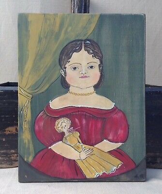 Antique primitive portrait style folk art painting on wooden panel