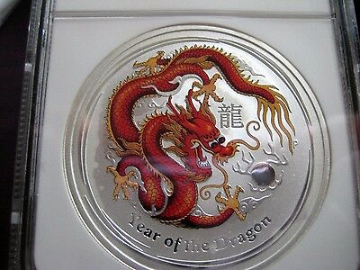 """2012 YEAR OF THE DRAGON LUNAR """"RED-ORANGE"""" COLORIZED MS-69 Perth Silver 1-oz"""