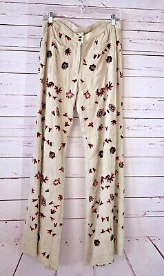 New FREE PEOPLE Womens Size 10 Embroidered Boho Flare Leg Pants Beige NWOT