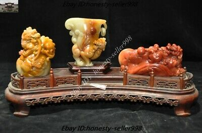 Chinese Fengshui Natural Furong Shoushan Stone Carved Pixiu Beast Statue Set