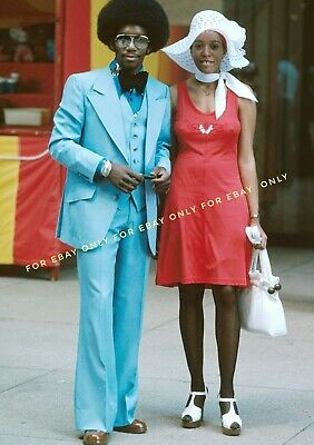 Vintage Old Photo reprint of 1973 African American Black Man Woman 1970s Fashion