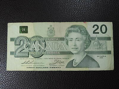 1991 $20 Dollar Bank of Canada Banknote Replacement EIX2075973 with Serifs F Gr
