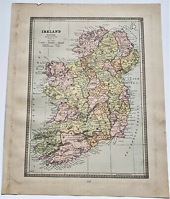 Original 1883 Color  Map Of Ireland And Scotland From Crams  Atlas Of The World