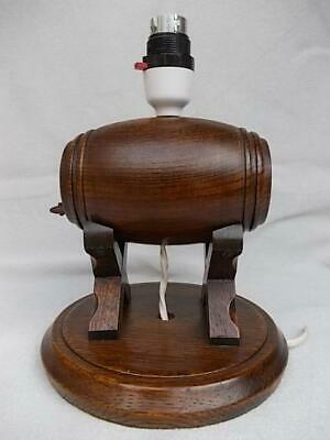 302 / Mid 20Th Century Wooden Wine Barrel Shaped Hand Made Oak Table Lamp