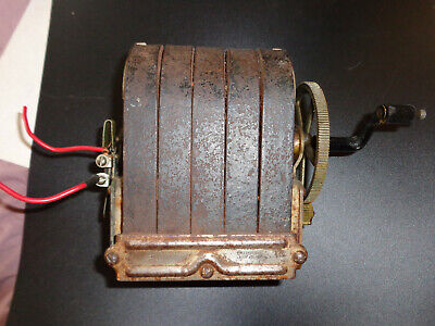 Antique Western Electric Hand Crank Generator 5 Bar Telephone Magneto FREE S&H