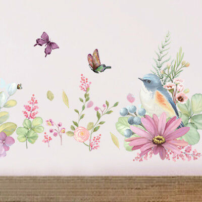 Removable Wall Flower Butterfly Stickers Wardrobe Bedroom Home Art Decals cZxY#