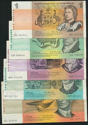 Australia 1969 $1 to $20 Phillips-Randall 5 Notes Complete Set