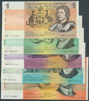 Australia 1972 $1 to $20 Phillips-Wheeler CofA 5 Notes Complete Set