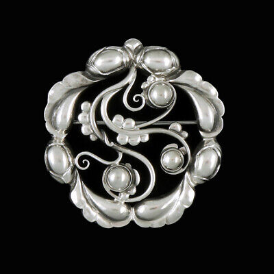 Georg Jensen. Early Art Nouveau Sterling Silver Brooch #159. 1915-30 Hallmarks.