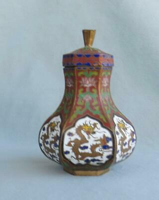 Small Vintage Chinese Cloisonne  Jar Dragons