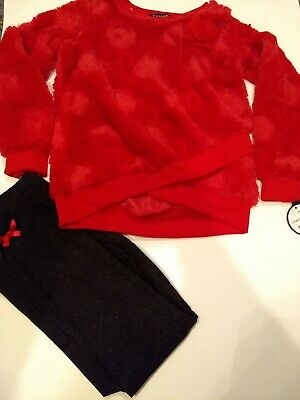 Tahari 2 Piece Faux Fur Set Leggings and Top Red Black For Girls Size 6 Nwt