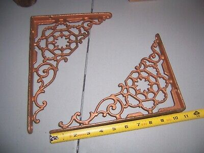 Vintage Large Cast Iron Shelf /  Wall Brackets Ornamental Art Deco Victorian 11""
