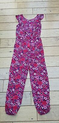 Girls Deep Pink Floral Jumpsuit Age 10