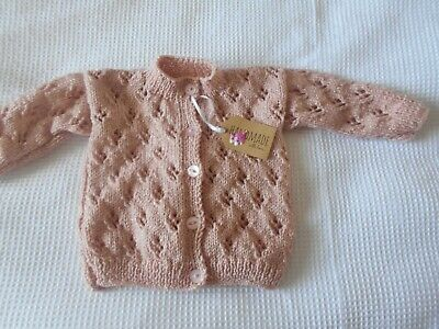 Baby Hand Knitted Sparkly Dusky Pink Cardigan Age 9/12 Mths