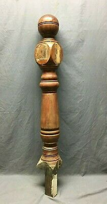 Antique Hardwood Turned Ball Top Finial Newel Post 6x48 Vtg Staircase 335-20B