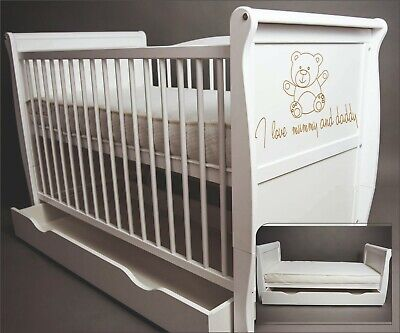 Wooden Baby Cot Bed & Foam Mattress  & Drawer ✔ Converts to Toddler Bed