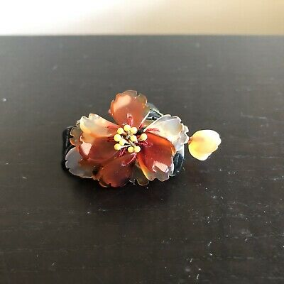 Fine Old Chinese Carved Green Jade Red Carnelian Agate Quartz Stone Brooch Pin