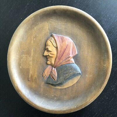 Fine German Carved Oval Wooden Figural Folk Art Plaque Woman Relief NICE