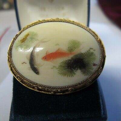 BEAUTIFUL Vintage Chinese Silver Vermeil Filigree Painted KOI FISH Brooch Pin