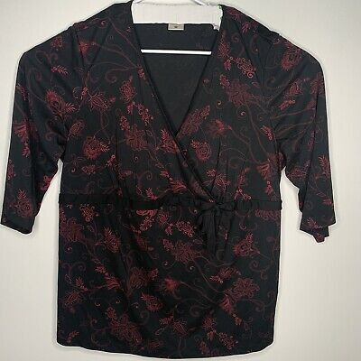 Motherhood Maternity Womens Plus Top 3X Black Floral V Neck Stretch Work Casual