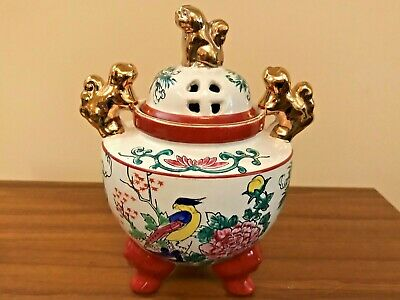 Extraordinary Handcrafted & Painted Chinese Incense Burner - Signed