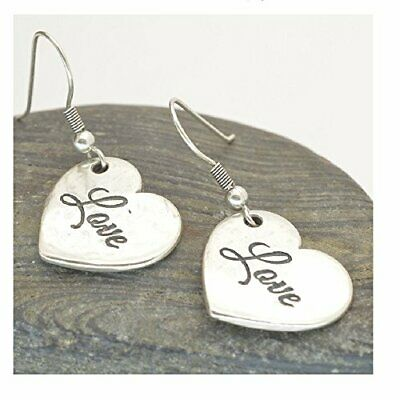SALE: Silver Glazed Pewter Danon Earrings: 16mm x 14mm Heart Drops Engraved w...