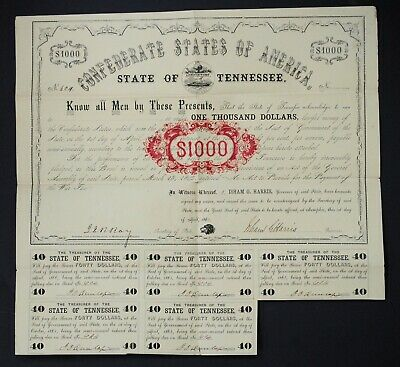 CR-62 UNL 1862 Confederate States of America State of Tennessee $1000 Bond No604