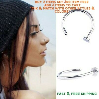 Surgical Stainless Steel Plain Silver Open Nose Ring Hoop 8mm 20Gauge
