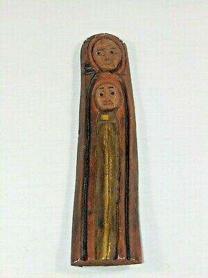 Folk Wall Art Old Primitive Carving Carved Painted Wood Wooden Mother and Child