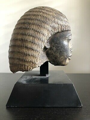 Antique Archaic Carved Egyptian King Ramses Head Bust Art Mounted RARE Relic