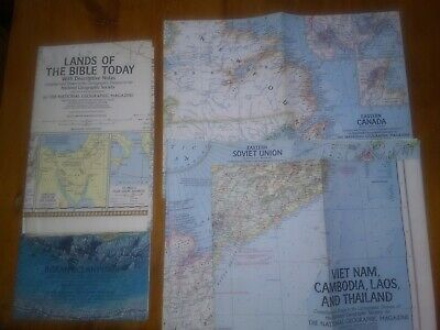 Very Diverse Lot Of 21 National Geographic Maps, Charts.1967 to 1980 .