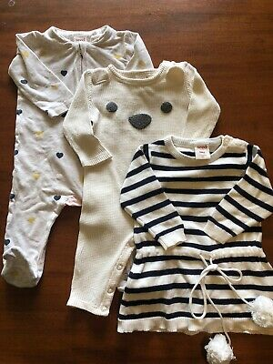 Seed Baby Girl Bundle.  Jumpsuit X 2 & Dress. Size 0-3 Months (000)