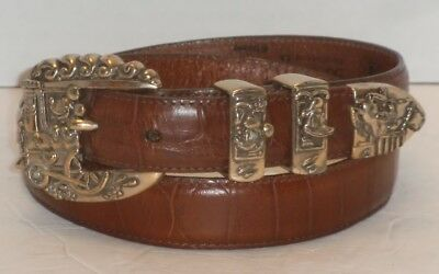 Brighton Vintage Mickey Mouse Brown Moc Croc Leather Belt Silver Tone Buckle 30
