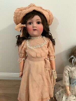 Antique doll ceramic open mouth teeth H&W 6 1/2