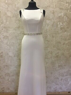 Diane Harbridge Wedding Dress Size 6 Crepe Boat Neck Designer Sample