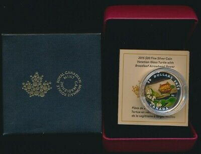 Canada 2015 $20 99.99 31.39g Silver Proof Coin Venetian Glass Turtle