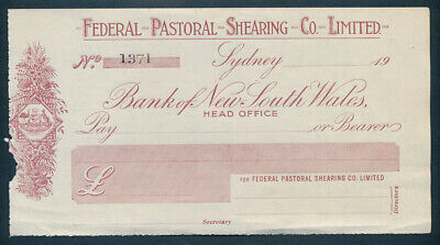 "Australia: 1920s Federal Pastoral Shearing Co. Sydney ""SCARCE UNISSUED CHEQUE"""