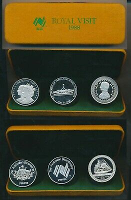 Australia: 1988 Royal Visit 3 x 32.1g Silver Medal Cased, Bicentenary Series